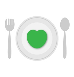 Plate with green heart vector image