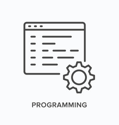 Programming flat line icon outline vector