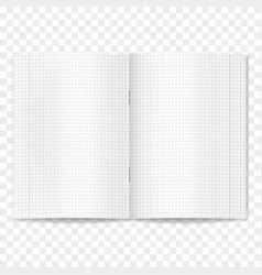 realistic opened quad ruled school copybook vector image