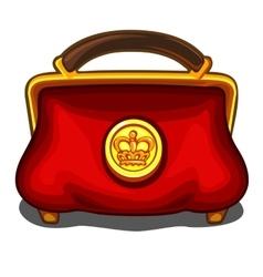 Red handbag with royal golden seal vector