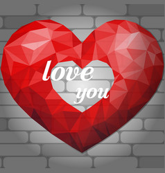 Red origami heart on light background of bricks vector