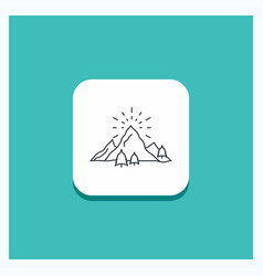 round button for hill landscape nature mountain vector image