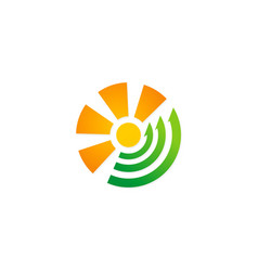Round sunny arrow eco logo vector