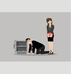Sad businessman and woman near open door safe vector