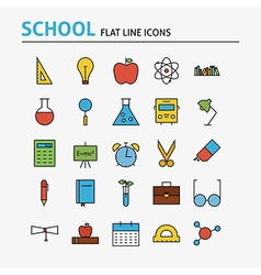 School and Education Colorful Flat Line Icons Set vector image