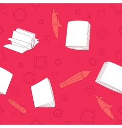 School notes seamless pattern on pink background vector image
