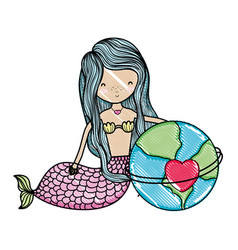 Scribbled siren woman and global planet with heart vector