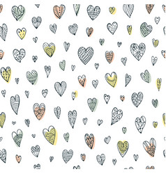 seamless doodle pattern with different hearts vector image