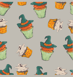 seamless halloween party pattern wrapping with vector image