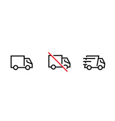 set blank ban and fast cargo delivery truck vector image