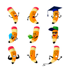 set cartoon pencils characters school stationery vector image