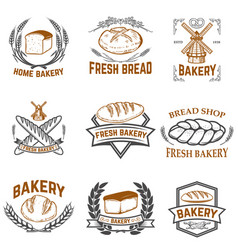 set of bakery labels bread shop fresh bread vector image vector image