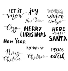 Set of Christmas lettering handwritten vector image