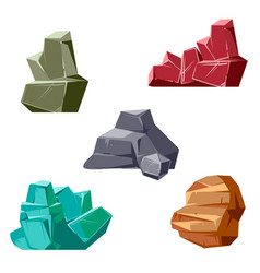 Set of rocks and crystals cartoon isometric 3d vector