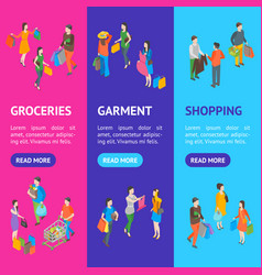 shopping people 3d banner vecrtical set isometric vector image