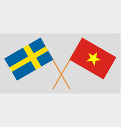 Socialist republic of vietnam and sweden flags vector
