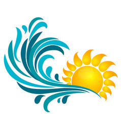 sun and sea wave vector image