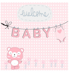 Teddy bearpink baby shower card vector
