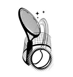 Tennis ball with a racket kicking through vector