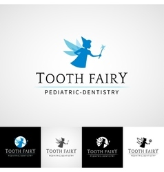 Tooth fairy dental logo template Teethcare icon vector
