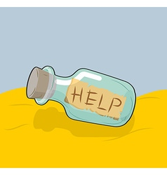 Transparent bottle with text Help on sand Glass vector