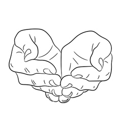 Two open empty hands asking gesture vector image