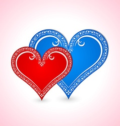 Two Valentines hearts vector image