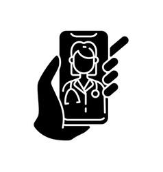 Video consultation black glyph icon vector