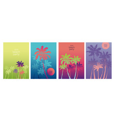Vintage vibes tropical palm silhouette poster set vector