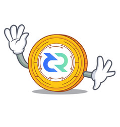 waving decred coin character cartoon vector image