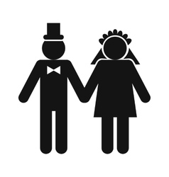 Wedding married couple icon vector image
