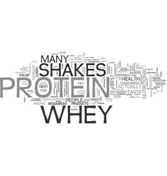 Whey protein shakes text word cloud concept vector
