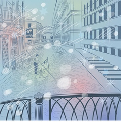 winter Christmas Venice cityscapes vector image