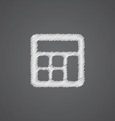 calculator sketch logo doodle icon vector image