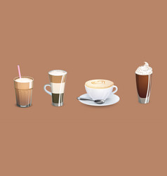 different types of coffee vector image vector image