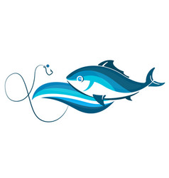 fish on wave and hook vector image vector image