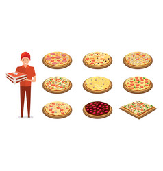 italian pizza with fillings delivering pizza vector image