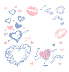 love doodle romantic background vector image