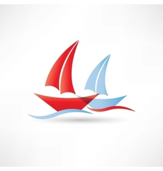 sailboats in the sea icon vector image