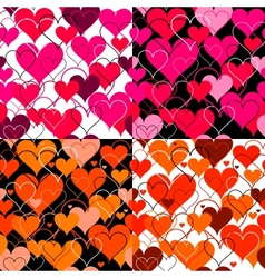 Set hearts pink seamless Backgrounds vector image vector image