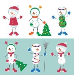 Set of Snowman Snow man vector image