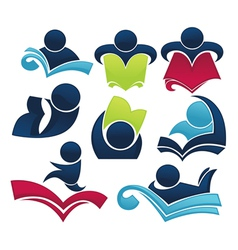 studying symbols and education icons vector image vector image