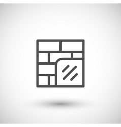 Wall insulation line icon vector image vector image
