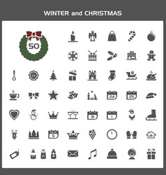 winter and christmas icon set vector image vector image