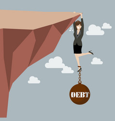 Business woman try hard to hold on the cliff with vector image vector image