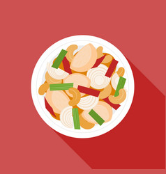 chicken fried with cashew nuts vector image vector image