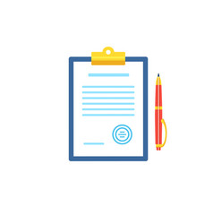 clipboard with document icon in flat style vector image vector image