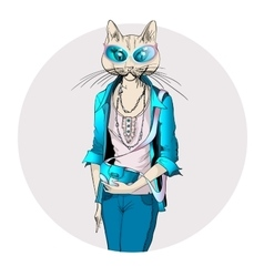 Fashion of cat girl dressed up in vector