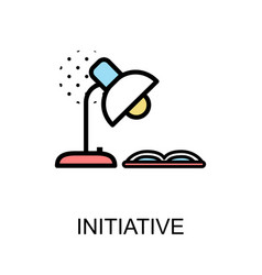 initiative icon and desk lamp with book on white vector image