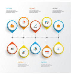 Job flat icons set collection of id badge vector